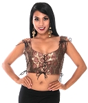 Banarsi Lace Up Metallic Choli Bodice  - BURGUNDY / GOLD
