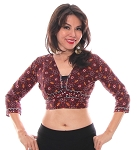 Ajrak Open-Back Tribal Choli Top - BURGUNDY MULTI