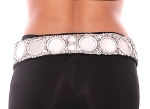 Sequin Tribal Belt with Shisha Mirrors - SILVER ASSORTED