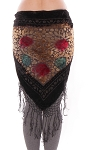 Burnout Velvet Floral Shawl Scarf with Fringe - BLACK MULTI