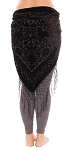 Floral Pattern Burnout Velvet Shawl Hip Scarf with Fringe - BLACK