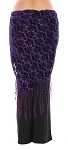 Petite Fleur Burnout Velvet Shawl Hip Scarf with Fringe - PURPLE