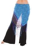 Chiffon Chunri Print Shawl with Crochet Fringe - TURQUOISE / ROYAL BLUE