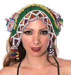 Afghani Tribal Beaded Headpiece with Beaded Tassels