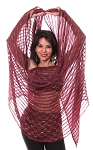 Lurex Belly Dance Veil with Metallic Stripes - BURGUNDY / GOLD