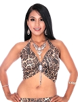 Elegant Metallic Belly Dance Fusion Halter Top with Jewel & Fringe - BROWN LEOPARD