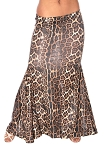 Belly Dance Costume Mermaid Trumpet Skirt - BROWN LEOPARD