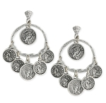 Classic Coin Drape Earrings- ANTIQUE SILVER