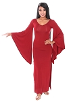 Trumpet Sleeve Long Maxi Stretch Dress - BURGUNDY