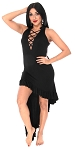 Stretch Tunic Dress with Criss-Cross Neckline and Assymetric Ruffle Hem - BLACK