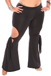 Peek-a-boo Side Tie Pants - BLACK