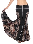 Mermaid Trumpet Skirt - BLACK BAROQUE PRINT