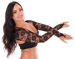 Long Sleeve Lace Shrug with Finger Loops - BLACK