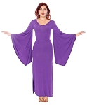 Trumpet Sleeve Long Maxi Stretch Dress - PURPLE
