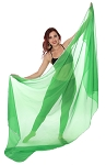 3 Yard Chiffon Belly Dance Veil with Sequin Trim - GREEN / SILVER