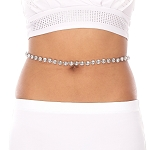 Rhinestone Belly Chain Belt- CLEAR / SILVER