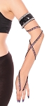 Arm Band with Stretch Wrap Strap Sleeve - BLACK / SILVER