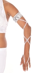 Arm Band with Stretch Wrap Strap Sleeve - WHITE / SILVER