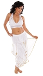 2-Piece Endless Wave Bollywood / Belly Dance Costume - WHITE / GOLD