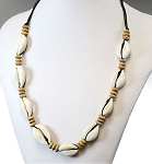 Tribal Shell Necklace with Wooden Beads