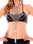 Tribal Fusion Chainmail Body Chain Jewelry with Drapes and Tassel