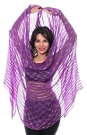 Lurex Belly Dance Veil with Metallic Stripes - PURPLE / GOLD