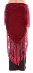 Velvet Tribal Belt Shawl with Medium Length Fringe - BURGUNDY