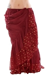 10 Yard Tiered Tribal Skirt with Lurex Trim - BURGUNDY