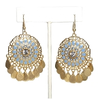 Medallion Filigree Earrings with Rhinestone Center and Teardrop Dangles - GOLD / BLUE