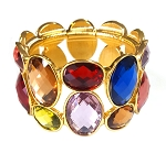 Crystal Rhinestone Stretch Cuff Bracelet - GOLD / MULTI