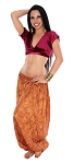 Tribal Brocade Harem Pants & Choli Set - BURGUNDY / GOLD