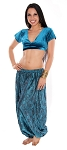 Tribal Brocade Harem Pants & Choli Set - TEAL / BLACK