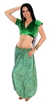 Tribal Brocade Harem Pants & Choli Set - GREEN / GOLD