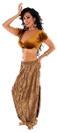 Tribal Brocade Harem Pants & Choli Set - ANTIQUE GOLDEN BRONZE