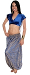 Tribal Brocade Harem Pants & Choli Set - BLUE / GOLD