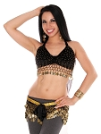 2-Piece Velvet Belly Dance Costume Set - BLACK / GOLD