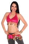 2-Piece Velvet Belly Dance Costume Set - HOT PINK / GOLD