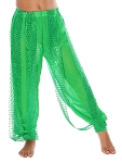 KIDS Harem Pants with Sparkle Dot Panels - GREEN