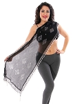 CAIRO COLLECTION: Rectangular Assuit Shawl - BLACK / SILVER