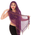 CAIRO COLLECTION: Rectangular Assuit Shawl - PURPLE PLUM / GOLD