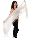 CAIRO COLLECTION: Rectangular Assuit Shawl - IVORY / SILVER