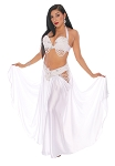 CAIRO COLLECTION: Professional Belly Dance Costume from Egypt - WHITE SATIN / PEARL