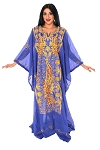 CAIRO COLLECTION: Traditional Khaleeji Thobe Dress Peacock Design - ROYAL BLUE