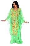 CAIRO COLLECTION: Traditional Khaleeji Thobe Dress Peacock Design - BRIGHT GREEN