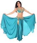CAIRO COLLECTION: Professional Belly Dance Costume from Egypt - TEAL BLUE