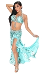 CAIRO COLLECTION: Professional Belly Dance Costume from Egypt - TURQUOISE / SILVER