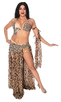 CAIRO COLLECTION: Professional Belly Dance Costume from Egypt - BRONZE / BROWN / BLACK SNAKE AND LEOPARD PRINT