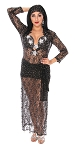 CAIRO COLLECTION: Professional Belly Dance Lace Beledi Saiidi Dress from Egypt - BLACK / SILVER STARS