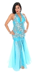 CAIRO COLLECTION: Professional Belly Dance Lace Beledi Dress from Egypt - BLUE TURQUOISE / SILVER