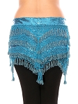 CAIRO COLLECTION: Beaded Pyramid Sequin Hipscarf - TURQUOISE BLUE